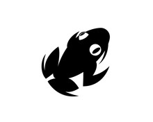 Simple Black Frog Swimming Art...