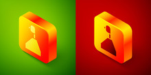 Isometric Gear Shifter Icon Isolated On Green And Red Background. Transmission Icon. Square Button. Vector Illustration