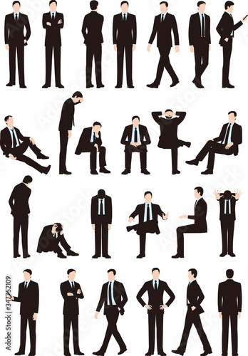 Fotografie, Obraz ビジネスマンの様々なポーズ