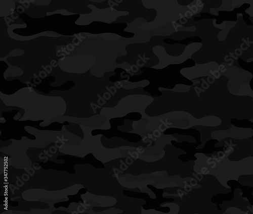 Black seamless camouflage print. Classic background vector. Canvas Print