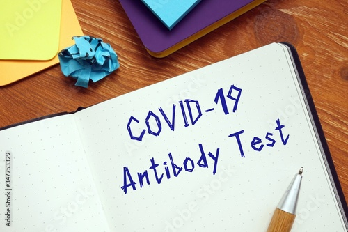 Health concept meaning covid antibody test with phrase on the sheet Wallpaper Mural
