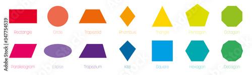 Fototapeta Geometric shapes with labels. Set of 14 basic shapes. Simple flat vector illustration obraz