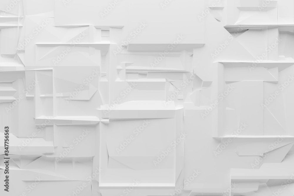 Abstract chaotic, white, dark geometrical cube shaped background