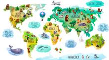 Children's World Map Isolated ...