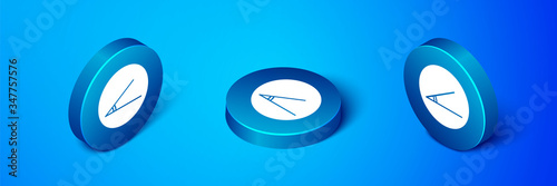 Isometric Acute angle of 45 degrees icon isolated on blue background Canvas Print