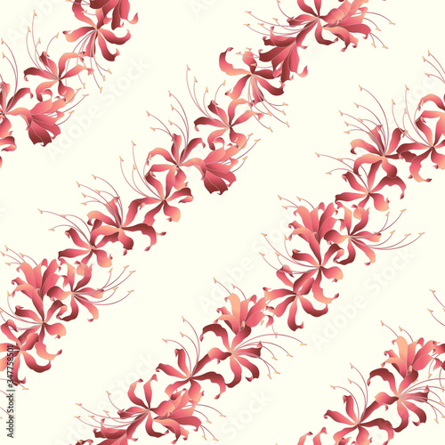 Photo The cluster amaryllis pattern that is beautiful with Japanese style,