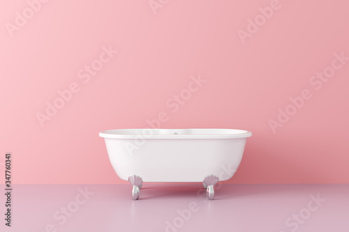Photo New bath tub in vintage style in empty pink room.