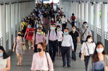 Crowd Of People Wearing Surgical Mask And Walking At Bangkok Downtown