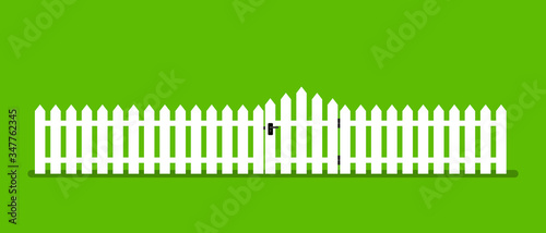 Obraz White wooden fence with garden gate in flat style - fototapety do salonu