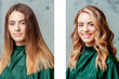 canvas print picture - Portrait of young woman with straight and curly hair before and after treatment.
