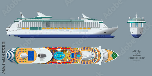Canvas Print Isolated blueprint of cruise ship
