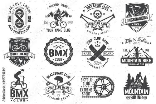 Fotografija Set of bmx, skateboard and mtb extreme sport club badge