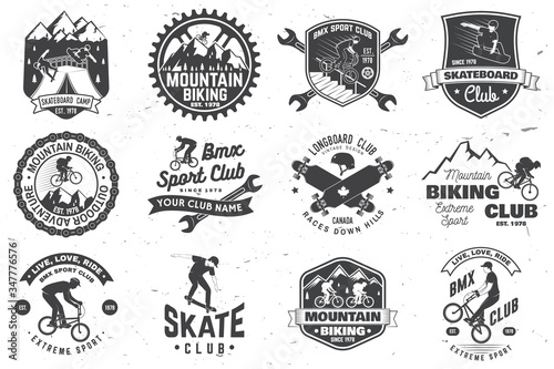 Set of bmx, skateboard and mtb extreme sport club badge Canvas Print