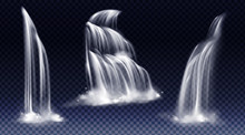 Waterfalls Isolated On Transparent Background. Vector Realistic River Water Fall With Cascade, Splash And Fog. Set Of Liquid Streams, Flow Of Pure Aqua, Shower Or Rain