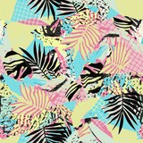 Abstract vector pattern suitable for printing children's prints on textiles, fabrics, clothes, boys, girls.Geometric pattern with tropical leaves monstera retro style. Jungle ornament. Memphis.