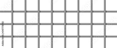 Carta da parati Steel grid from reinforced rebars, welded metal wire mesh