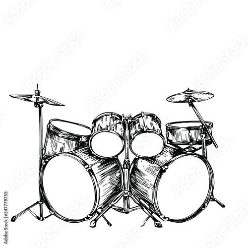 Stampa su Tela drum set hand drawing sketch vector