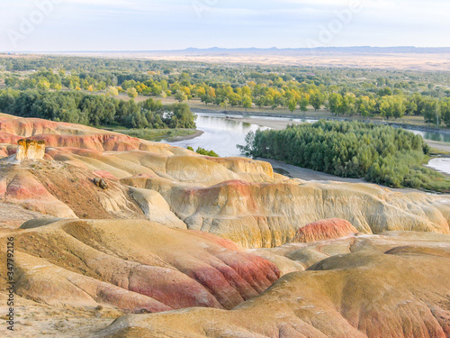 Colorful Rainbow Beach, or Wucaitan, Located along the Irtysh (Ertix) River in n Wallpaper Mural
