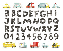 Track Road Alphabet, Numbers. Baby City Cars Set. Comic Funny Transport. Vector Cartoon Illustrations In Hand-drawn Scandinavian Style For Kids, Nursery, Poster, Card, Birthday Party, Baby T-shirts