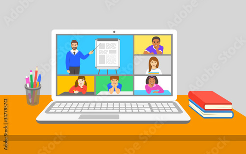 Fototapeta Online education virtual class teleconference. Kids stay home watching male teacher talking and points to flipchart. Remote education during coronavirus quarantine. Learning school program from home obraz
