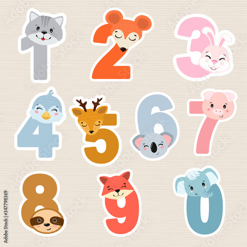 Set of children numbers with animals. Vector illustration for kids.