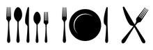 Plate, Knife, Spoon And Fork Icon. Vector Illustration