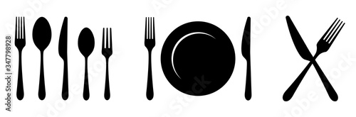 Plate, knife, spoon and fork icon. Vector illustration Poster Mural XXL