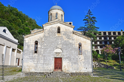Saint Simon the Canaanite Church in summer, New Athos, Abkhazia Canvas Print