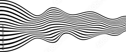 Photo Optical art. Vector illustration. Striped wave.
