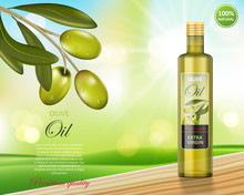Olive Oil Bottle Design On Gre...