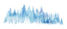 Watercolor Blue Landscape Of F...