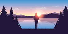Girl By The Lake At Sunrise Nature Landscape Vector Illustration EPS10