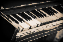 Old Piano With Cracked Keys