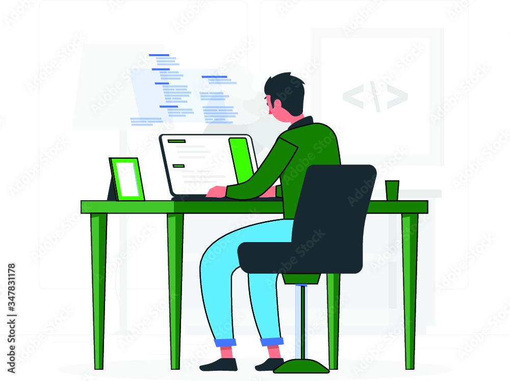 Fototapeta Programmer Doing Tasks on Computer and Studying at home