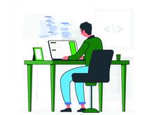 Programmer Doing Tasks On Comp...