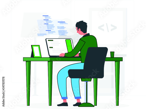 Programmer Doing Tasks on Computer and Studying at home - 347831178