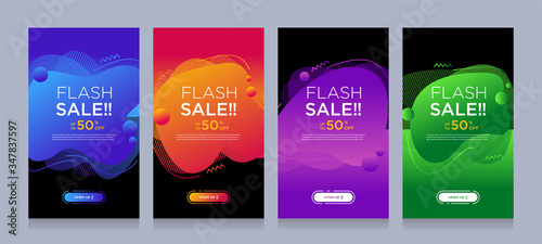 Fotografía Modern colorful advertising poster for flash sale banners with dynamic shape