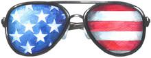 USA Flag On The Glasses