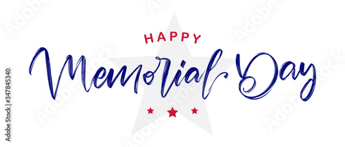 Photographie Vector illustration: Handwritten calligraphic lettering of Happy Memorial Day wi