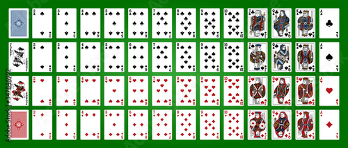 Fototapeta Poker set with isolated cards on green background. Poker playing cards, full deck. obraz
