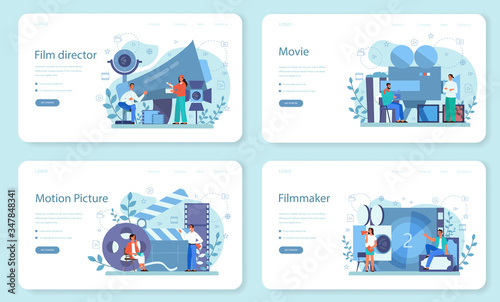 Papel de parede Film director web banner or landing page set. Idea of creative