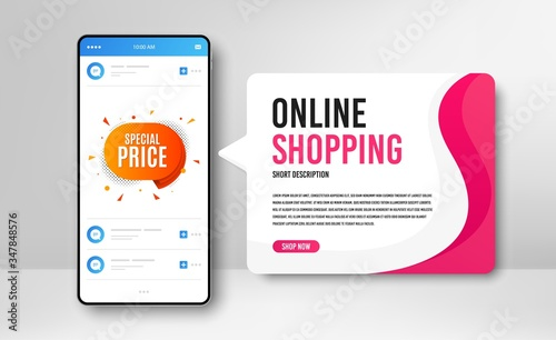Fototapeta Phone banner template. Special price badge. Discount banner shape. Sale coupon bubble icon. Social media banner with smartphone screen. Online shopping web template. Vector obraz