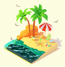 Vector Isometric Summer Beach Holidays Illustration. Beach Deck Chairs, Umbrella, Swim Ring, Sand Castle On The Tropical Sandy Beach Under Palm Trees. Summer Vacation