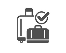 Airport Baggage Reclaim Icon. Airplane Check In Luggage Sign. Flight Checked Bag Symbol. Classic Flat Style. Quality Design Element. Simple Baggage Reclaim Icon. Vector