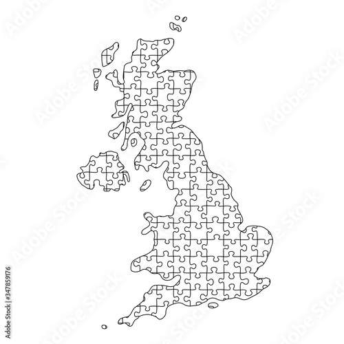 Photo United Kingdom map from black pattern from composed puzzles