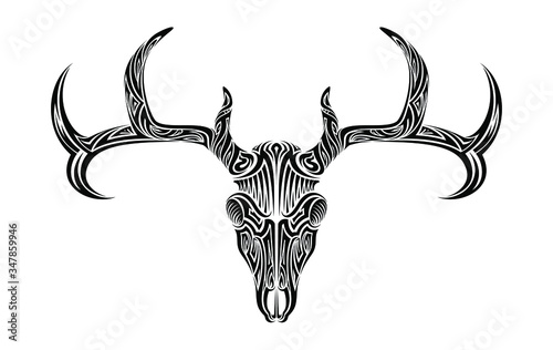 Fototapeta Creepy deer skull with antlers horns ethnic tribal tattoo vector art design illu