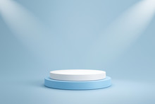 Studio Template And White Round Shape Pedestal On Light Blue Background With Spotlight Product Shelf. Blank Studio Podium For Product Advertising. 3D Rendering.