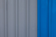 Zinc Industrial Texture Background. Wall Aluminum Gray And Blue.