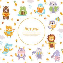 Autumn Banner Template With Cute Wild Animals, Deer, Unicorn, Bear, Hedgehog, Frog, Crocodile Vector Illustration