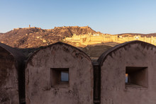 Walls Of Amer And Amber Fort View, India, Jaipur